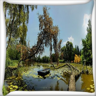 Snoogg Broked Tree On The River Digitally Printed Cushion Cover Pillow 16 x 16 Inch