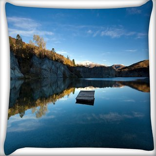 Snoogg Plain Boat Digitally Printed Cushion Cover Pillow 16 x 16 Inch