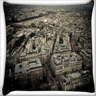 Snoogg White Buildings Digitally Printed Cushion Cover Pillow 16 x 16 Inch