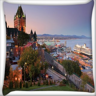 Snoogg Colorful Buildings Digitally Printed Cushion Cover Pillow 16 x 16 Inch