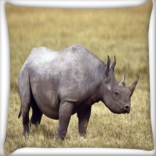 Snoogg Abstarct Rhino Digitally Printed Cushion Cover Pillow 16 x 16 Inch