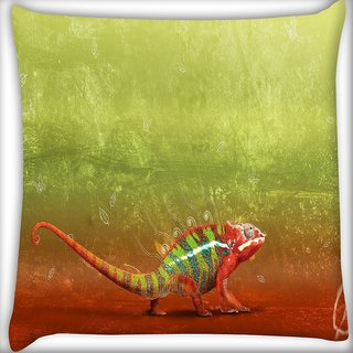 Snoogg Red Chameleon Digitally Printed Cushion Cover Pillow 16 x 16 Inch
