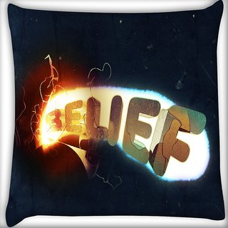 Snoogg Belief Digitally Printed Cushion Cover Pillow 16 x 16 Inch