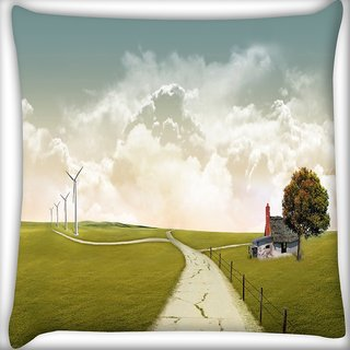 Snoogg Pathway Road Digitally Printed Cushion Cover Pillow 16 x 16 Inch