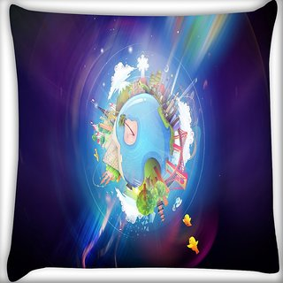Snoogg Colorful Earth Digitally Printed Cushion Cover Pillow 16 x 16 Inch