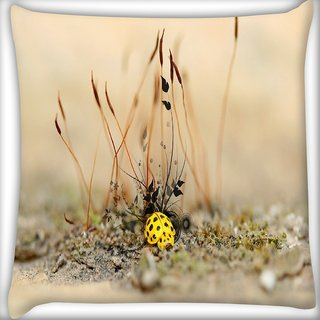 Snoogg Yellow Bulb Digitally Printed Cushion Cover Pillow 16 x 16 Inch