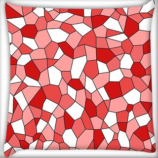 Snoogg Abstract Red Blocks Pattern Digitally Printed Cushion Cover Pillow 16 x 16 Inch