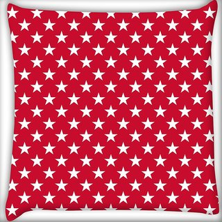 Snoogg White Stars Red Pattern Digitally Printed Cushion Cover Pillow 16 x 16 Inch