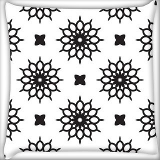 Snoogg Abstract Floral White Pattern Digitally Printed Cushion Cover Pillow 16 x 16 Inch