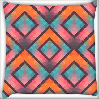 Snoogg Abstract Multicolor Triangles Digitally Printed Cushion Cover Pillow 16 x 16 Inch