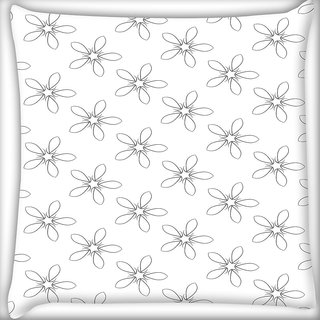 Snoogg Grey Floral White Digitally Printed Cushion Cover Pillow 16 x 16 Inch