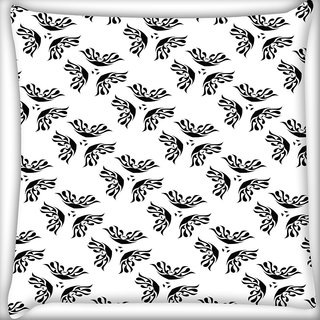 Snoogg Black Absttract White Digitally Printed Cushion Cover Pillow 16 x 16 Inch