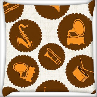 Snoogg Gramophone Digitally Printed Cushion Cover Pillow 16 x 16 Inch