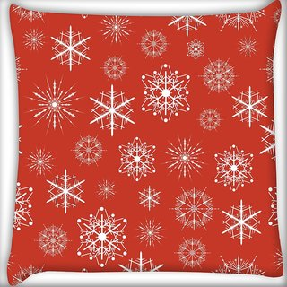 Snoogg White Pattern Red Digitally Printed Cushion Cover Pillow 16 x 16 Inch