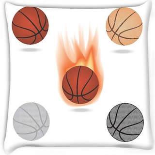 Snoogg  basketball Digitally Printed Cushion Cover Pillow 16 x 16 Inch