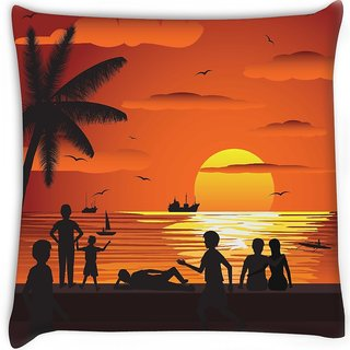 Snoogg  beach Digitally Printed Cushion Cover Pillow 16 x 16 Inch