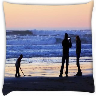 Snoogg  beach people Digitally Printed Cushion Cover Pillow 16 x 16 Inch