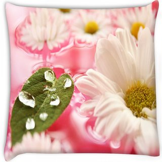 Snoogg  beautiful flower in nature background  Digitally Printed Cushion Cover Pillow 16 x 16 Inch