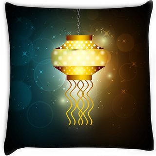 Snoogg  beautiful illuminating diya background for hindu community festival diwali  Digitally Printed Cushion Cover Pillow 16 x 16 Inch