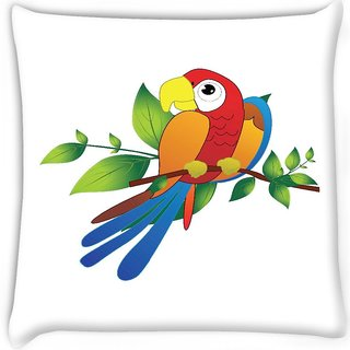 Snoogg  parrot on branch illustration Digitally Printed Cushion Cover Pillow 16 x 16 Inch
