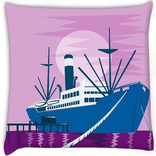 Snoogg  passenger cargo ship docking Digitally Printed Cushion Cover Pillow 16 x 16 Inch