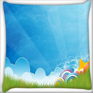 Snoogg Abstract Blue Digitally Printed Cushion Cover Pillow 16 x 16 Inch