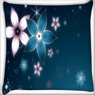 Snoogg Heart And Stars Digitally Printed Cushion Cover Pillow 16 x 16 Inch