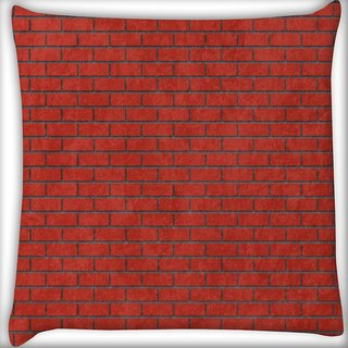 Snoogg Red Bricks Digitally Printed Cushion Cover Pillow 16 x 16 Inch
