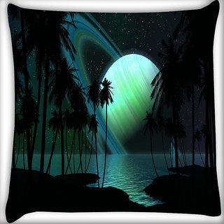 Snoogg Eclipse View Digitally Printed Cushion Cover Pillow 16 x 16 Inch