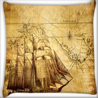 Snoogg Navigator'S Map Digitally Printed Cushion Cover Pillow 16 x 16 Inch