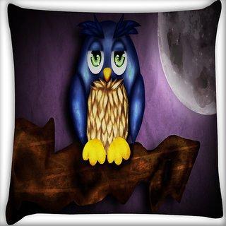 Snoogg Cute Owl Digitally Printed Cushion Cover Pillow 16 x 16 Inch