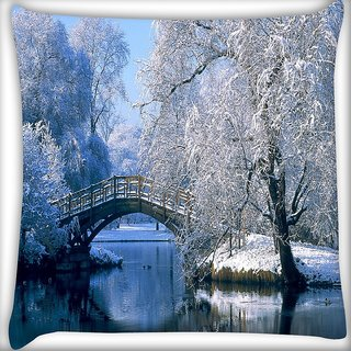 Snoogg Frozen Tree By Lake Side Digitally Printed Cushion Cover Pillow 16 x 16 Inch