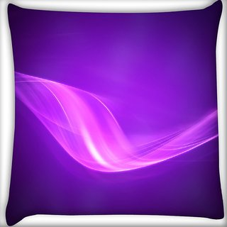 Snoogg Neon Purple Wave Digitally Printed Cushion Cover Pillow 16 x 16 Inch