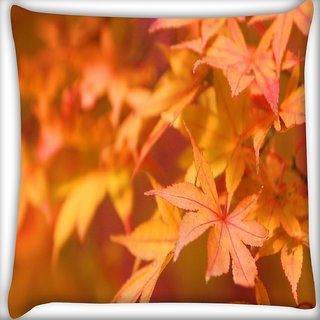 Snoogg Orange Leaves Digitally Printed Cushion Cover Pillow 16 x 16 Inch