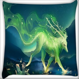 Snoogg Green Mysterious Design Digitally Printed Cushion Cover Pillow 16 x 16 Inch