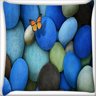 Snoogg Colorful Pebble Stone Digitally Printed Cushion Cover Pillow 16 x 16 Inch