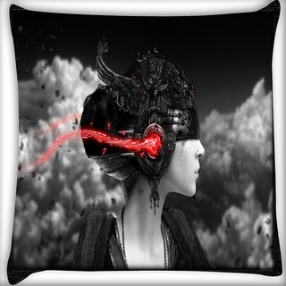 Snoogg Dark Women Digitally Printed Cushion Cover Pillow 16 x 16 Inch