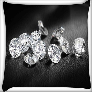 Snoogg Diamonds 11739 Digitally Printed Cushion Cover Pillow 16 x 16 Inch