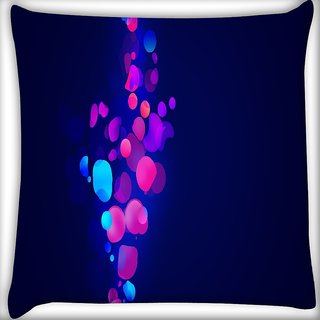 Snoogg Neon Bubbles Digitally Printed Cushion Cover Pillow 16 x 16 Inch