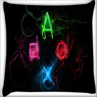 Snoogg Neon Playstation Buttons Digitally Printed Cushion Cover Pillow 16 x 16 Inch