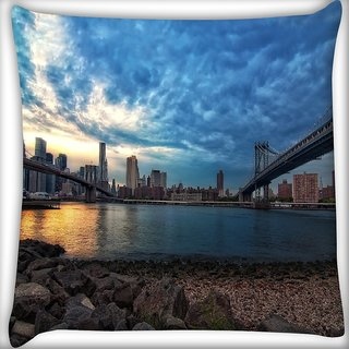 Snoogg New York Lake View Digitally Printed Cushion Cover Pillow 16 x 16 Inch