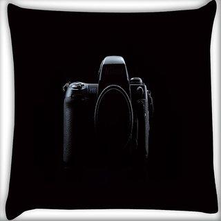 Snoogg Nikon Camera Digitally Printed Cushion Cover Pillow 16 x 16 Inch