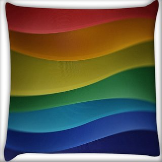 Snoogg Abstract Colorful Strips Digitally Printed Cushion Cover Pillow 16 x 16 Inch