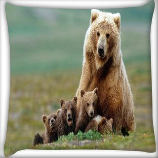 Snoogg Small Babies Of Bear Digitally Printed Cushion Cover Pillow 16 x 16 Inch