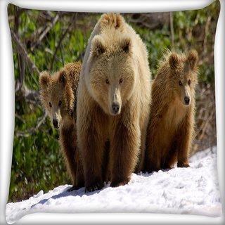 Snoogg Three Bears Digitally Printed Cushion Cover Pillow 16 x 16 Inch