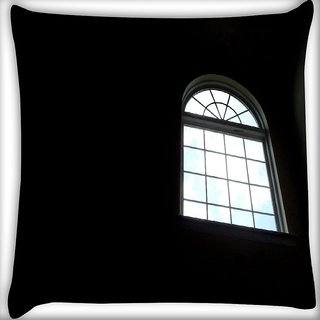 Snoogg Alone Window Digitally Printed Cushion Cover Pillow 16 x 16 Inch