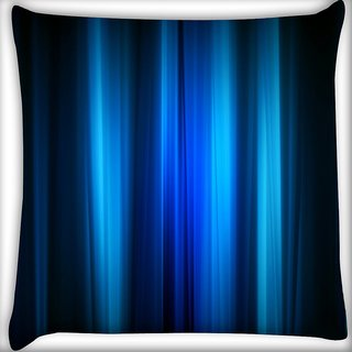 Snoogg Abstract Blue Strips Digitally Printed Cushion Cover Pillow 16 x 16 Inch