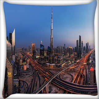 Snoogg Dubai City Digitally Printed Cushion Cover Pillow 16 x 16 Inch