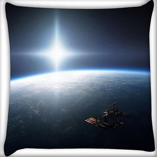 Snoogg Earth From Top Digitally Printed Cushion Cover Pillow 16 x 16 Inch