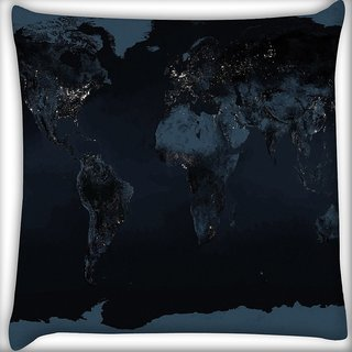 Snoogg Brown Map Digitally Printed Cushion Cover Pillow 16 x 16 Inch